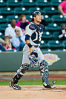 Wilmington Blue Rocks catcher Kenny Swab (9) on defense against the Winston-Salem Dash at BB&T Ballpark on April 20, 2013 in Winston-Salem, North Carolina.  The Dash defeated the Blue Rocks 4-2 in game one of a double-header.  (Brian Westerholt/Four Seam Images)