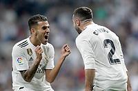 Real Madrid's Dani Ceballos (l) and Daniel Carvajal celebrate goal during La Liga match. August 19,2018.  *** Local Caption *** © pixathlon<br /> Contact: +49-40-22 63 02 60 , info@pixathlon.de