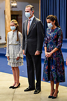 OVIEDO, SPAIN - OCTOBER 16: King Felipe VI of Spain, Queen Letizia of Spain, Crown Princess Leonor of Spain (L) attend an audience to congratulate the winners at the Reconquista Hotel during the 'Princesa De Asturias' Awards 2020 on October 16, 2020 in Oviedo, Spain. <br /> CAP/MPI/RJO<br /> ©RJO/MPI/Capital Pictures