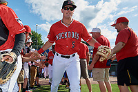 Batavia Muckdogs Nic Ready (5) during introductions before a NY-Penn League game against the Williamsport Crosscutters on August 25, 2019 at Dwyer Stadium in Batavia, New York.  Williamsport defeated Batavia 10-3.  (Mike Janes/Four Seam Images)