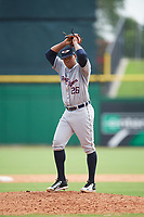 Lakeland Flying Tigers starting pitcher Sandy Baez (26) gets ready to deliver a pitch during the first game of a doubleheader against the Clearwater Threshers on June 14, 2017 at Spectrum Field in Clearwater, Florida.  Lakeland defeated Clearwater 5-1.  (Mike Janes/Four Seam Images)