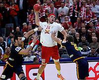 Mikkel Hansen (C) of Denmark in action during men`s EHF EURO 2012 championship semifinal handball game between Denmark and Spain in Belgrade, Serbia, Friday, January 27, 2011.  (photo: Pedja Milosavljevic / thepedja@gmail.com / +381641260959)