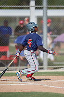 Ryan Spikes (5) hits a home run during the WWBA World Championship at JetBlue Park on October 10, 2020 in Fort Myers, Florida.  Ryan Spikes, a resident of Lilburn, Georgia who attends Parkview High School, is committed to Tennessee.  (Mike Janes/Four Seam Images)