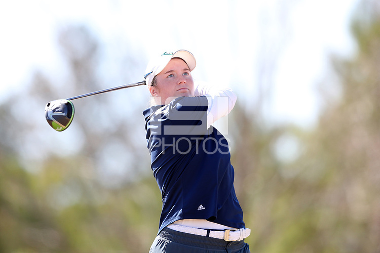 WALLACE, NC - MARCH 09: Rachael Mast of UNC Wilmington tees off on the 13th hole of the River Course at River Landing Country Club on March 09, 2020 in Wallace, North Carolina.
