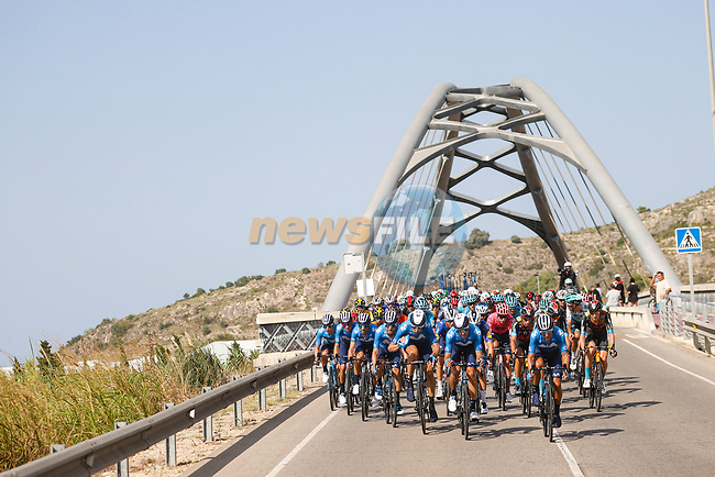Movistar Team lead the peloton during Stage 6 of La Vuelta d'Espana 2021, running 158.3km from Requena to Alto de la Montaña Cullera, Spain. 19th August 2021.    <br /> Picture: Luis Angel Gomez/Photogomezsport | Cyclefile<br /> <br /> All photos usage must carry mandatory copyright credit (© Cyclefile | Luis Angel Gomez/Photogomezsport)
