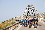 Movistar Team lead the peloton during Stage 6 of La Vuelta d'Espana 2021, running 158.3km from Requena to Alto de la Montaña Cullera, Spain. 19th August 2021.    <br /> Picture: Luis Angel Gomez/Photogomezsport   Cyclefile<br /> <br /> All photos usage must carry mandatory copyright credit (© Cyclefile   Luis Angel Gomez/Photogomezsport)