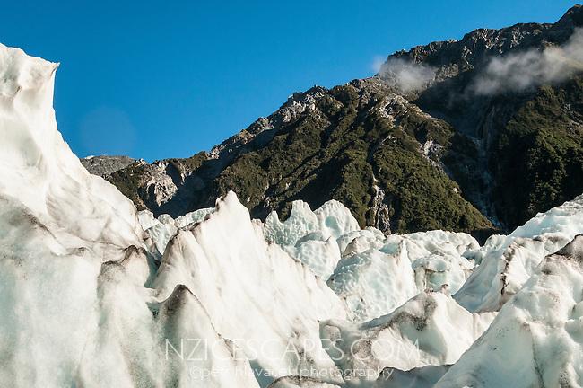 Amidst ice waves and crevasses on Franz Josef Glacier, Westland National Park, West Coast, World Heritage, South Island, New Zealand