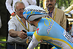 Maxim Iglinskiy (KAZ) Astana chats to fans as he waits his turn during the Prologue of the 99th edition of the Tour de France 2012, a 6.4km individual time trial starting in Parc d'Avroy, Liege, Belgium. 30th June 2012.<br /> (Photo by Eoin Clarke/NEWSFILE)