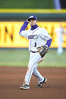 Winston-Salem Dash second baseman Nick Madrigal (3) makes a throw to first base against the Wilmington Blue Rocks at BB&T Ballpark on April 15, 2019 in Winston-Salem, North Carolina. The Dash defeated the Blue Rocks 9-8. (Brian Westerholt/Four Seam Images)