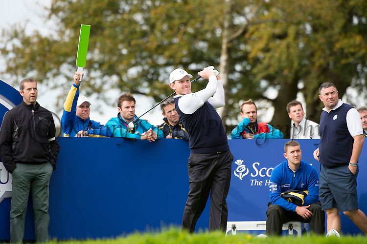 Scotsman Stephen Gallacher  tees off at the 7th holeduring a practice session at Gleneagles Golf Course, Perthshire. Photo credit should read: Kenny Smith/Press Association Images.during a practice session at Gleneagles Golf Course, Perthshire. Photo credit should read: Kenny Smith/Press Association Images.
