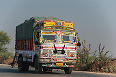 Rajasthan, India. Between Sawai Madhopur and Agra. Colouful decorated truck.