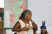 "Altamira, Brazil. ""Xingu Vivo Para Sempre"" protest meeting about the proposed Belo Monte hydroeletric dam and other dams on the Xingu river and its tributaries. Maria Lopes Curuaia, an Indian elder, protesting against the proposed dams."