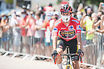 Race leader Red Jersey Primoz Roglic (SLO) Jumbo Visma arrives at sign on before the start of Stage 7 of La Vuelta d'Espana 2021, running 152km from Gandia to Balcon de Alicante, Spain. 20th August 2021.     <br /> Picture: Unipublic/Charly Lopez | Cyclefile<br /> <br /> All photos usage must carry mandatory copyright credit (© Cyclefile | Charly Lopez/Unipublic)