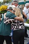 Trainer Kathy Ritvo hugs groom after Mucho Macho Man wins the Gulfstream Park Handicap(G2) at Gulfstream Park, Hallandale Beach Florida. 03-10-2012