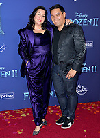 """LOS ANGELES, USA. November 08, 2019: Kristen Anderson-Lopez & Robert Lopez at the world premiere for Disney's """"Frozen 2"""" at the Dolby Theatre.<br /> Picture: Paul Smith/Featureflash"""