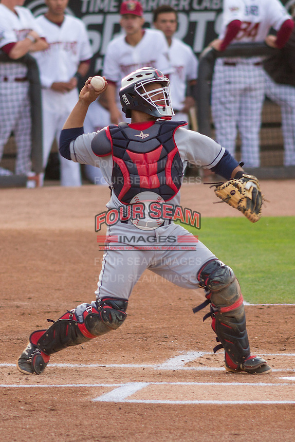 Lake County Captains catcher Francisco Mejia (22) throws down to second base during a Midwest League game against the Wisconsin Timber Rattlers on June 3rd, 2015 at Fox Cities Stadium in Appleton, Wisconsin. Wisconsin defeated Lake County 3-2. (Brad Krause/Four Seam Images)