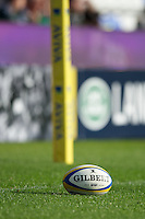The Gilbert match ball during the Aviva Premiership match between London Irish and Bath Rugby at the Madejski Stadium on Saturday 22nd September 2012 (Photo by Rob Munro)