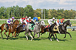 20 June 2009: Straight Story, ridden by Chuck Lopez, takes the early lead but comes in second to Battle of Hastings in the Colonial Turf Cup (Gr II) stakes race.