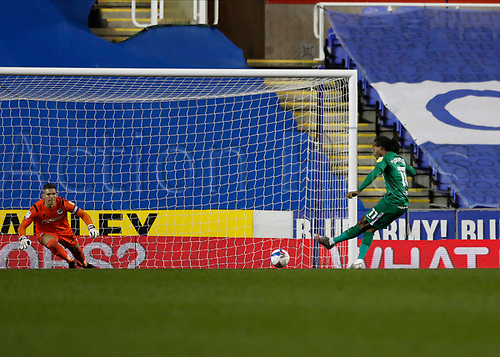 4th November 2020; Madejski Stadium, Reading, Berkshire, England; English Football League Championship Football, Reading versus Preston North End; Daniel Johnson of Preston North End taking a penalty during the 2nd half which was saved by Goalkeeper Rafael Cabral of Reading