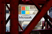 NEW YORK, NEW YORK - MARCH 10: View of a Microsoft logo on March 10, 2021, in New York. The Nasdaq Composite continued falling more than half a percent during the day also the move away from Apple Inc, Amazon.com Inc , Facebook Inc, Tesla Inc and Microsoft Corp, falling during the day, helped small-cap stocks rise more than double the gains of the S&P 500. (Photo by John Smith/VIEWpress)