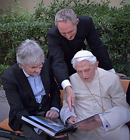 The photographer Stefano Spaziani, meets Pope Emeritus Benedict XVI and  Monsignor Georg Gaenswein to deliver his photographic book with all the most significant photos of his eight years of pontificat.Vatican City.on July 25, 2018