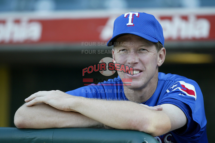 Texas Rangers Pitching Coach Orel Hershiser before a 2002 MLB season game against the Los Angeles Angels at Angel Stadium, in Los Angeles, California. (Larry Goren/Four Seam Images)