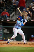 Buffalo Bisons catcher Raffy Lopez (43) bats during a game against the Pawtucket Red Sox on May 19, 2017 at Coca-Cola Field in Buffalo, New York.  Buffalo defeated Pawtucket 7-5 in thirteen innings.  (Mike Janes/Four Seam Images)