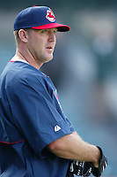 Jim Thome of the Cleveland Indians before a 2002 MLB season game against the Los Angeles Angels at Angel Stadium, in Los Angeles, California. (Larry Goren/Four Seam Images)