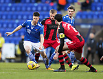 St Johnstone v St Mirren…16.01.21   McDiarmid Park     SPFL<br />Guy Melamed is closed down by Joe Shaughnessy and Cammy MacPherson<br />Picture by Graeme Hart.<br />Copyright Perthshire Picture Agency<br />Tel: 01738 623350  Mobile: 07990 594431
