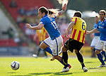 St Johnstone v Partick Thistle...28.09.13      SPFL<br /> Stevie May is fouled by Conrad Balatoni<br /> Picture by Graeme Hart.<br /> Copyright Perthshire Picture Agency<br /> Tel: 01738 623350  Mobile: 07990 594431