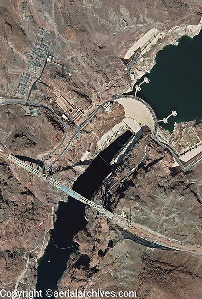 aerial photograph of the construction of the Mike O'Callaghan–Pat Tillman Memorial Bridge at the Hoover Dam, Nevada, 2010