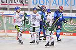 Torjubel bei den Augsburger Panthern nach dem 1:3, Danny Kristo (Nr.79, Augsburger Panther), David Stieler (Nr.21 - Augsburger Panther) und Drew LeBlanc (Nr.19 - Augsburger Panther), hängende Köpfe bei Daniel Pietta (Nr.86 - ERC Ingolstadt) und Fabio Wagner (Nr.5 - ERC Ingolstadt) beim Spiel in der Gruppe Sued der DEL, ERC Ingolstadt (dunkel) - Augsburger Panther (hell).<br /> <br /> Foto © PIX-Sportfotos *** Foto ist honorarpflichtig! *** Auf Anfrage in hoeherer Qualitaet/Aufloesung. Belegexemplar erbeten. Veroeffentlichung ausschliesslich fuer journalistisch-publizistische Zwecke. For editorial use only.