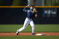 Queens Royals second baseman Zach Weston (9) makes a throw to first base during game two of a double-header against the Catawba Indians at Tuckaseegee Dream Fields on March 26, 2021 in Kannapolis, North Carolina. (Brian Westerholt/Four Seam Images)