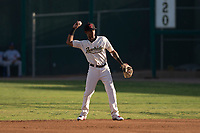 Visalia Rawhide second baseman Raymel Flores (1) during a California League game against the Stockton Ports at Visalia Recreation Ballpark on May 8, 2018 in Visalia, California. Stockton defeated Visalia 6-2. (Zachary Lucy/Four Seam Images)