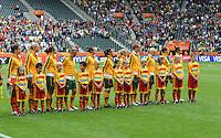 Fifa Women's World Cup Germany 2011 : Brazil - Australia  at Borussia - Park in Munchengladbach : Australian girls at the national hymn.foto DAVID CATRY / Vrouwenteam.be