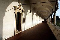 Le celle dei monaci sotto il porticato del Chiostro grande, nella Certosa di Pavia.<br /> Monks' cells under the porticos of the Grand Cloister of the Certosa di Pavia.<br /> UPDATE IMAGES PRESS/Riccardo De Luca