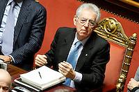 MARIO MONTI.Roma 22/12/2011 Senato. Voto di Fiducia sulla Manovra Economica.Votation at Senate about austerity plan. .Photo Samantha Zucchi Insidefoto