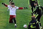 Spanish National Team's  training at Ciudad del Futbol stadium in Las Rozas, Madrid, Spain. In the Pic: Iker Casillas and Jordi Alba. March 25, 2015. (ALTERPHOTOS/Luis Fernandez)