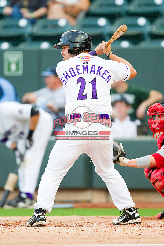 Brady Shoemaker #21 of the Winston-Salem Dash at bat against the Salem Red Sox at BB&T Ballpark on May 5, 2012 in Winston-Salem, North Carolina.  The Red Sox defeated the Dash 6-4.  (Brian Westerholt/Four Seam Images)