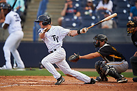 Tampa Yankees second baseman Nick Solak (39) at bat in front of catcher Christian Kelley (27) during the first game of a doubleheader against the Bradenton Marauders on April 13, 2017 at George M. Steinbrenner Field in Tampa, Florida.  Bradenton defeated Tampa 4-1.  (Mike Janes/Four Seam Images)
