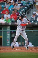 Syracuse Chiefs right fielder Caleb Ramsey (28) bats during a game against the Buffalo Bisons on June 30, 2017 at Coca-Cola Field in Buffalo, New York.  Syracuse defeated Buffalo 8-1.  (Mike Janes/Four Seam Images)