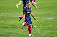 CHICAGO, UNITED STATES - AUGUST 25: Ignacio Aliseda #7 of the Chicago Fire celebrates with teammates after scoring a goal during a game between FC Cincinnati and Chicago Fire at Soldier Field on August 25, 2020 in Chicago, Illinois.