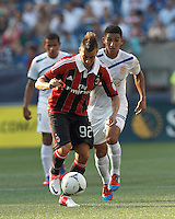AC Milan forward Stephan El Shaarawy (92) on the attack. In an international friendly, AC Milan defeated C.D. Olimpia, 3-1, at Gillette Stadium on August 4, 2012.