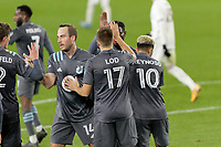 ST PAUL, MN - OCTOBER 28: Robin Lod #17 of Minnesota United FC celebrates his goal during a game between Colorado Rapids and Minnesota United FC at Allianz Field on October 28, 2020 in St Paul, Minnesota.