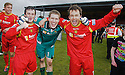 Albion Rovers goal scorers Robert Love (left) and Scott Chaplain (right) celebrate with penalty kick hero keeper Derek Gaston after winning the Second Division Play Offs after beating Stranraer on penalties .... ....