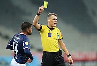 3rd July 2021; Arena da Baixada, Curitiba, Brazil; Brazilian Serie A, Athletico Paranaense versus Fortaleza; Referee Paulo Cesar Zanovelli shows a yellow card to Ronald of Fortaleza