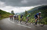 "Green Jersey / points leader Mark Cavendish (GBR/Deceuninck - Quick Step) escorted up the Col de Port by ""El Tractor""  Tim Declercq (BEL/Deceuninck - Quick Step)<br /> <br /> Stage 16 from El Pas de la Casa to Saint-Gaudens (169km)<br /> 108th Tour de France 2021 (2.UWT)<br /> <br /> ©kramon"