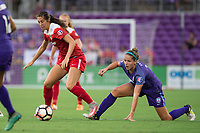 Orlando, FL - Tuesday August 08, 2017: Arielle Ship, Maddy Evans during a regular season National Women's Soccer League (NWSL) match between the Orlando Pride and the Chicago Red Stars at Orlando City Stadium.