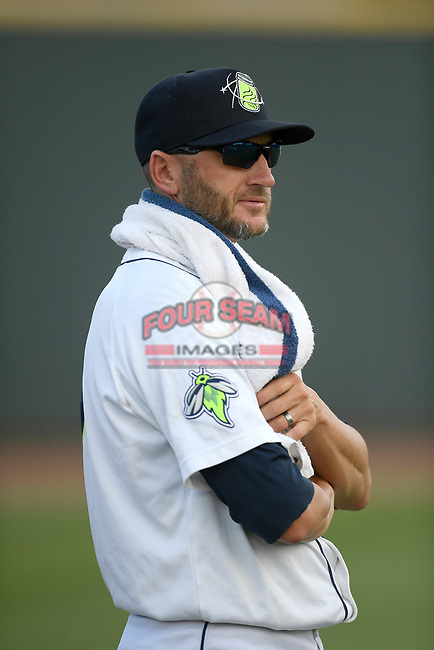 Pitching coach Josh Towers (19) of the Columbia Fireflies in a game against the Rome Braves on Saturday, August 17, 2019, at Segra Park in Columbia, South Carolina. Rome won, 4-0. (Tom Priddy/Four Seam Images)