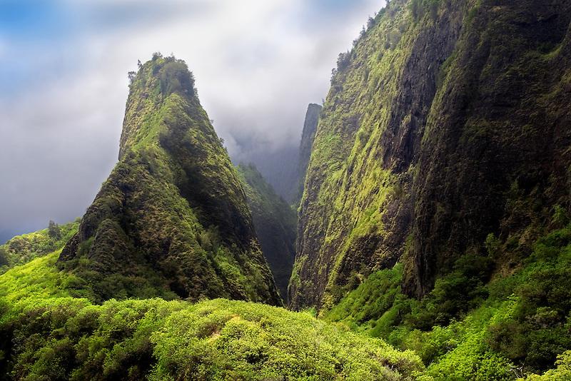 Iao Needle through the clouds. Iao State Park. Maui, Hawaii.